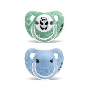 Lot de 2 sucettes physiologique silicone panda bleu 6-18 mois