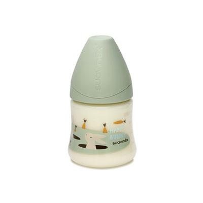 Biberon tétine physiologique silicone happy bunny vert 150 ml Suavinex