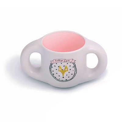 Tasse ergonomique avec anses hello fox pink Suavinex