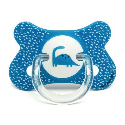 Sucette physiologique silicone 4-18 mois dino bleu Suavinex