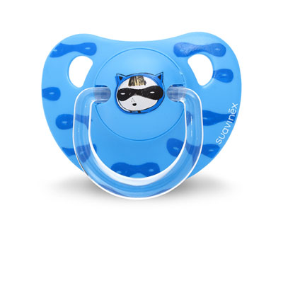 Sucette physiologique silicone 6-18 mois super héros bleu Suavinex