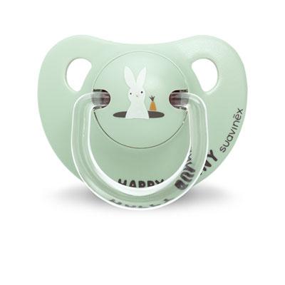 Sucette physiologique silicone 6-18 mois happy bunny vert Suavinex