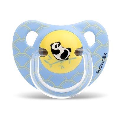 Lot de 2 sucettes physiologique silicone panda bleu 18 mois + Suavinex