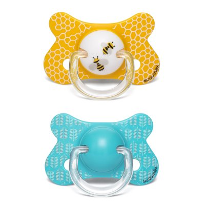 Lot de 2 sucettes silicone physiologique abeille jaune/bleu 18 mois + Suavinex