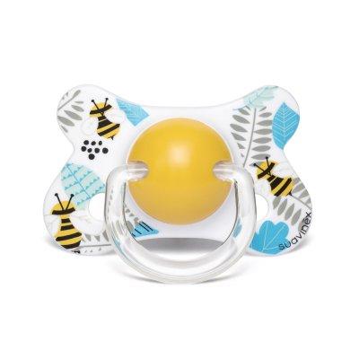 Sucette anatomique reversible silicone 4-18 mois abeille jaune Suavinex