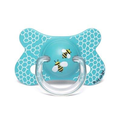 Sucette anatomique reversible silicone 4-18 mois abeille bleu Suavinex