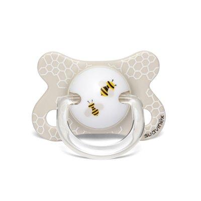 Sucette anatomique reversible silicone 0-4 mois abeille blanc Suavinex
