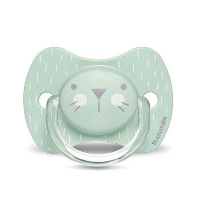 Sucette reversible silicone hygge baby moustache 0-6 mois vert Suavinex