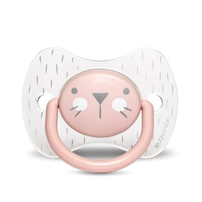 Sucette reversible silicone hygge baby moustache 6-18 mois rose Suavinex