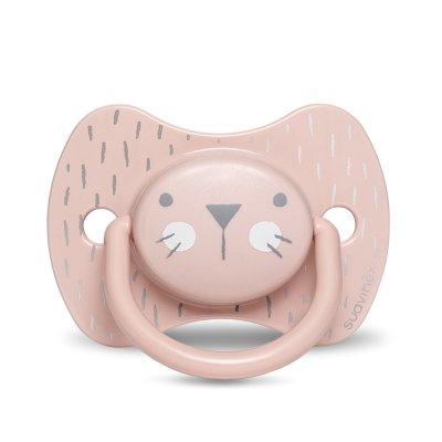 Sucette reversible silicone hygge baby moustache 18 mois et + rose Suavinex