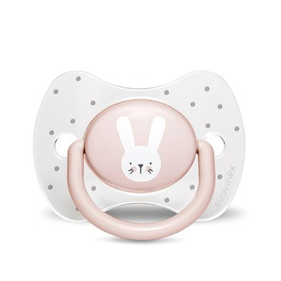 Sucette reversible silicone hygge baby lapin 18 mois et + rose Suavinex