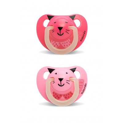 Lot de 2 sucettes silicone night and day rose 6 mois + Suavinex