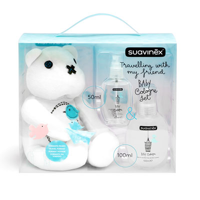 Set baby cologne 100 ml + flacon voyage 50 ml + teddy bear Suavinex