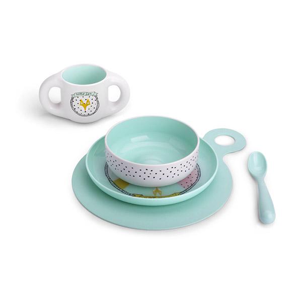 Coffret repas bébé hello fox turquoise Suavinex