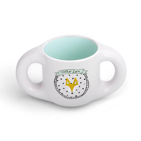 Tasse ergonomique avec anses hello fox turquoise Suavinex