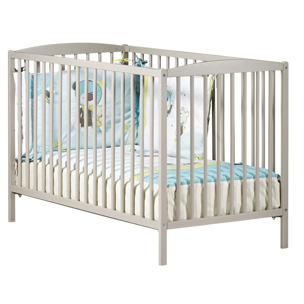 lit b b barreaux 60x120cm teddy taupe de baby price sur allob b. Black Bedroom Furniture Sets. Home Design Ideas