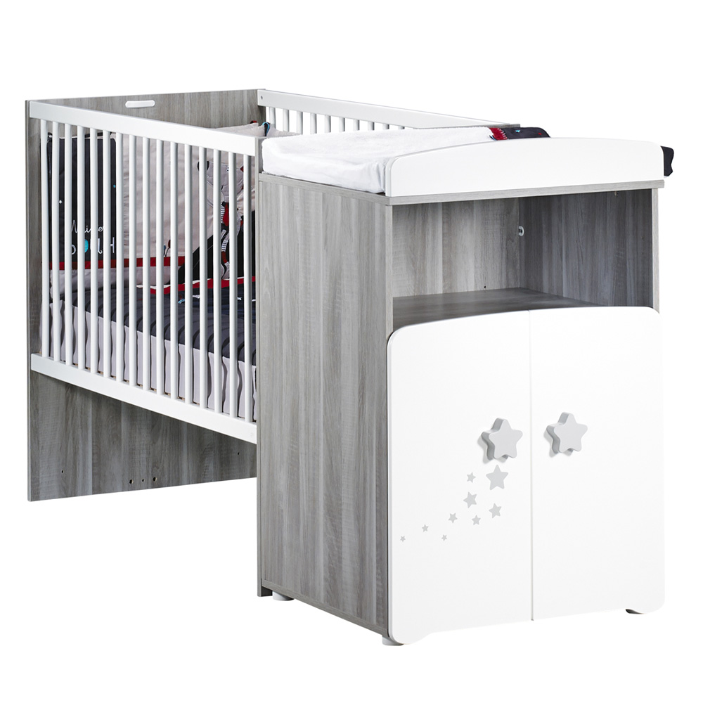 lit b b combin volutif 60x120cm en 90x190cm nao de baby. Black Bedroom Furniture Sets. Home Design Ideas