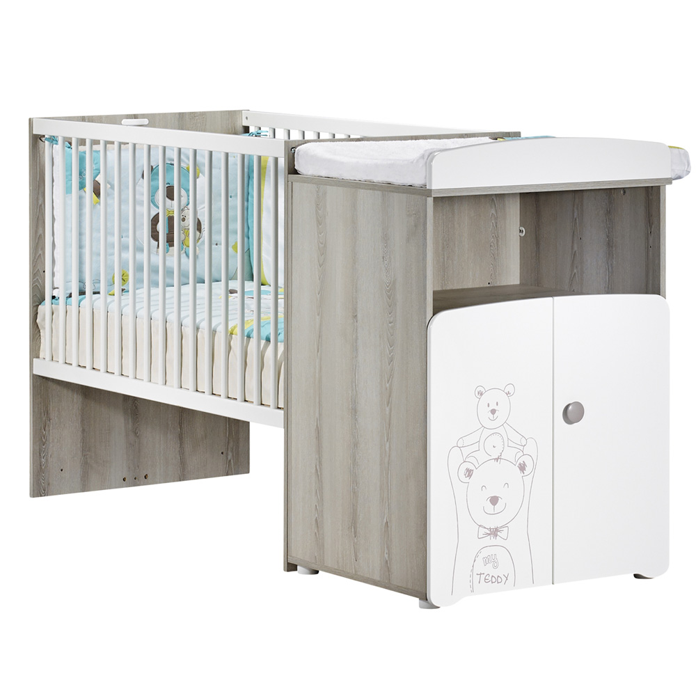 lit b b combin volutif 60x120 en 90x190 teddy de baby price sur allob b. Black Bedroom Furniture Sets. Home Design Ideas