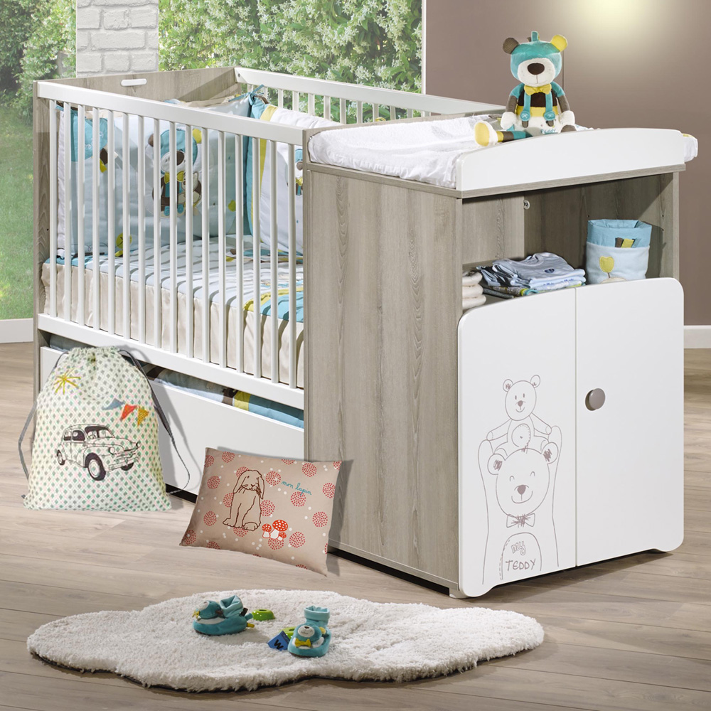lit b b combin volutif 60x120 en 90x190 teddy de baby. Black Bedroom Furniture Sets. Home Design Ideas