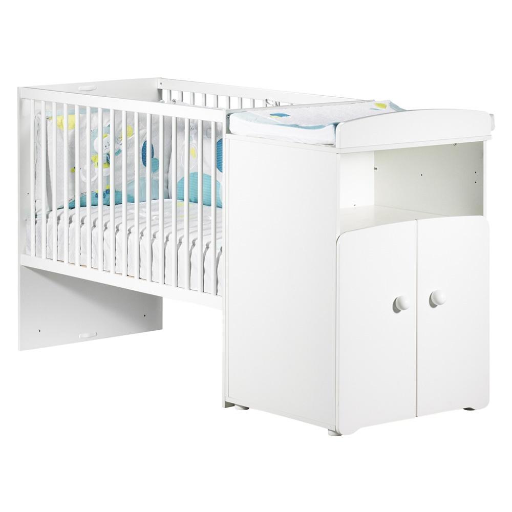 lit b b combin volutif 60x120 en 90x190 boutons boule blanc de baby price. Black Bedroom Furniture Sets. Home Design Ideas