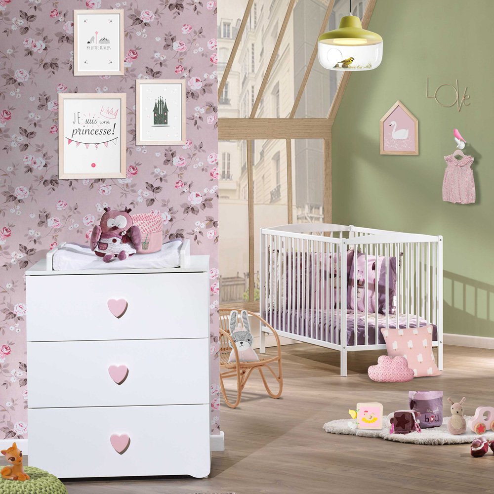 chambre b b duo basic lit barreaux 60x120cm blanc commode boutons coeur rose de baby price. Black Bedroom Furniture Sets. Home Design Ideas