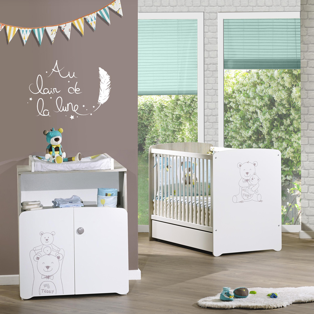 chambre b b duo teddy lit 60x120cm commode de baby price sur allob b. Black Bedroom Furniture Sets. Home Design Ideas