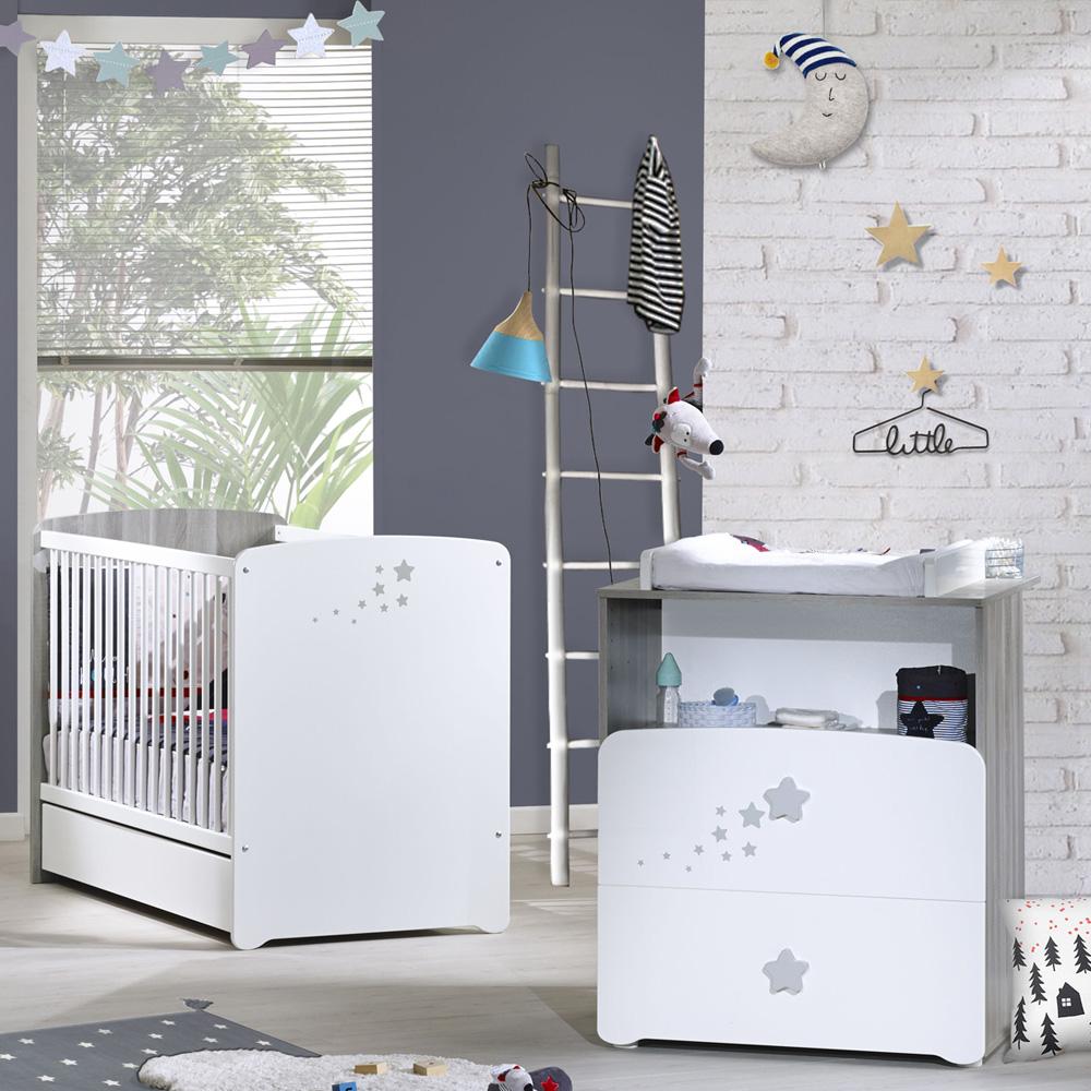 chambre b b duo nao lit 60x120cm commode de baby price sur allob b. Black Bedroom Furniture Sets. Home Design Ideas