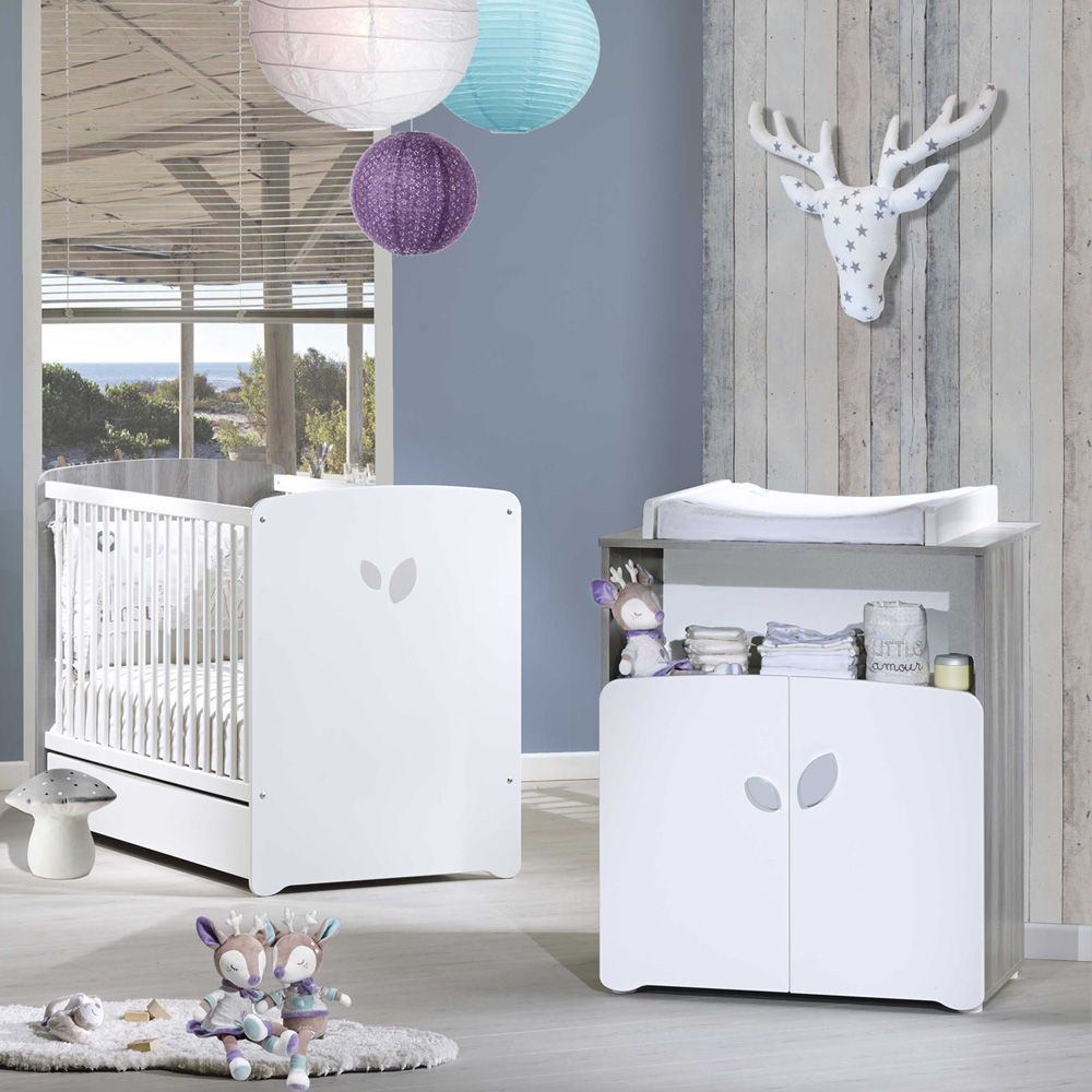 Chambre b b duo leaf lit 60x120cm commode de baby price for Table a langer 52 cm