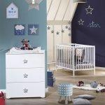 Chambre bébé duo basic lit à barreaux 60x120cm blanc + commode boutons étoile gris