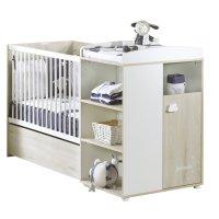 Lit bébé combiné évolutif 60x120 en 90x190 smile hêtre cendré