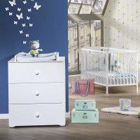 Chambre bébé duo basic lit à barreaux 60x120cm blanc + commode boutons boule blanc