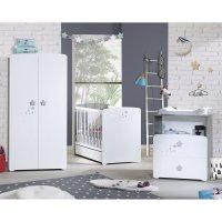 Chambre bébé trio nao lit 60x120cm + commode + armoire