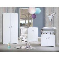 Chambre bébé trio leaf lit 60x120cm + commode + armoire