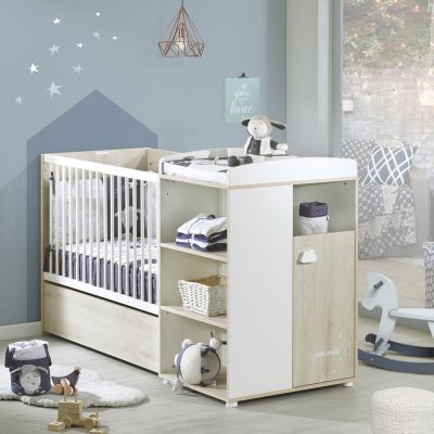 Lit bébé combiné évolutif 60x120 en 90x190 smile hêtre cendré Baby price
