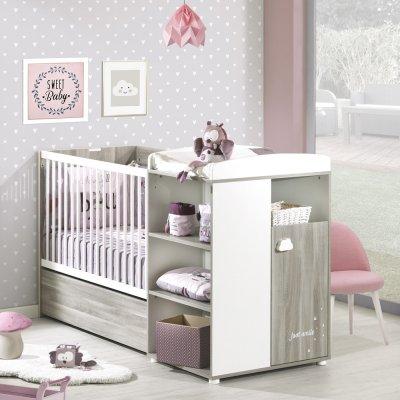 Lit bébé combiné évolutif 60x120 en 90x190 smile chêne silex Baby price