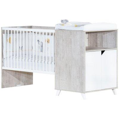 Lit combiné évolutif 60x120 en 90x190cm scandi gris Baby price