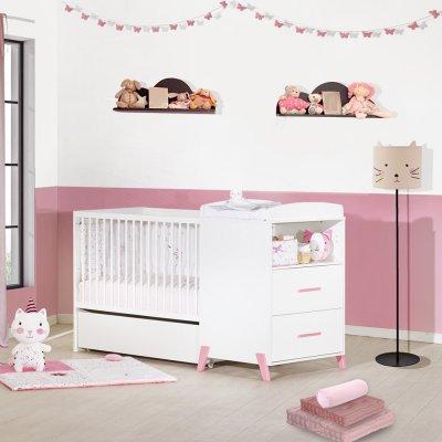 Lit combiné évolutif 60x120 en 90x190cm joy rose Baby price
