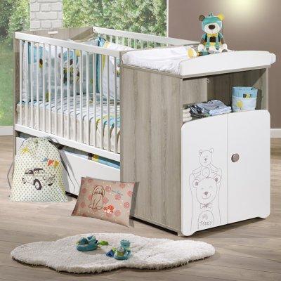 Lit bébé combiné évolutif 60x120 en 90x190 teddy Baby price