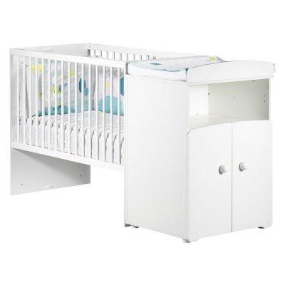Lit bébé combiné évolutif 60x120 en 90x190 boutons boule blanc Baby price