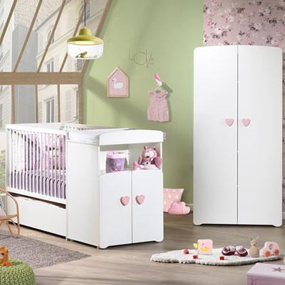 Lit bébé combiné évolutif 60x120 en 90x190 boutons coeur rose Baby price