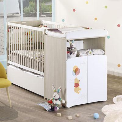 Lit bébé combiné évolutif 60x120cm en 90x190cm winnie Baby price