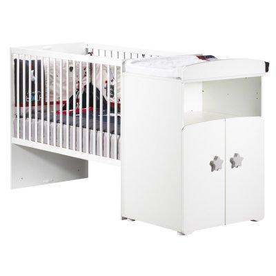 Lit bébé combiné évolutif 60x120 en 90x190 boutons étoile gris Baby price