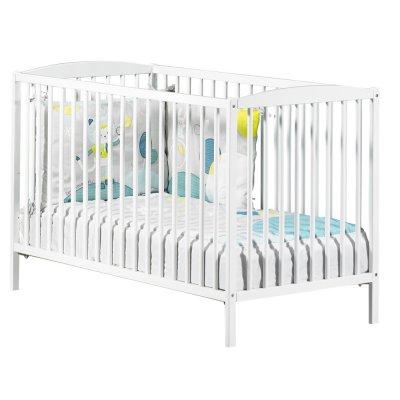 Chambre bébé duo basic lit à barreaux 60x120cm blanc + commode boutons boule blanc Baby price