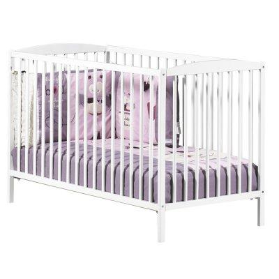 Chambre bébé duo basic lit à barreaux 60x120cm blanc + commode boutons coeur rose Baby price