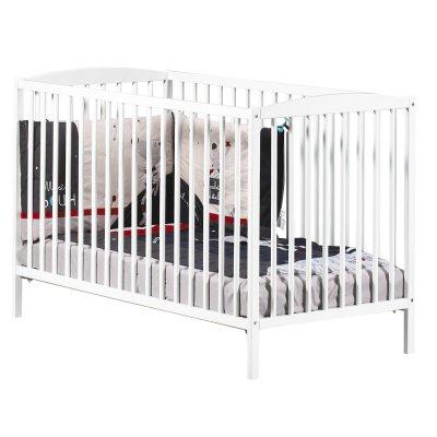 Chambre bébé duo basic lit à barreaux 60x120cm blanc + commode boutons étoile gris Baby price