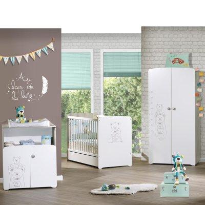 Chambre bébé trio teddy lit 60x120cm + commode + armoire