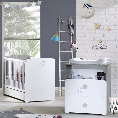 Chambre bébé duo nao lit 60x120cm + commode Baby price