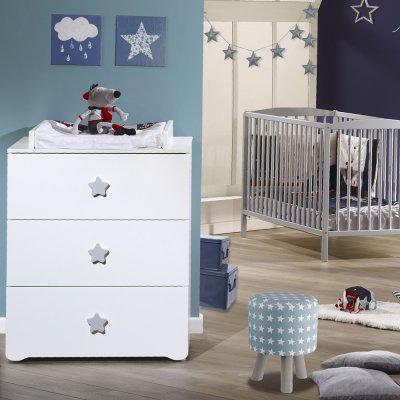 Commode bébé avec dispositif à langer boutons étoile gris Baby price