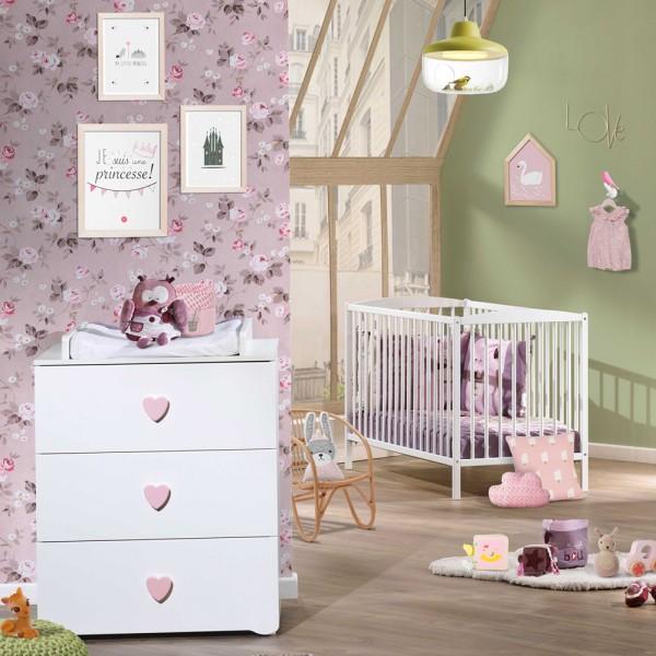 chambre b b duo basic lit barreaux 60x120cm blanc commode boutons coeur rose 15 sur allob b. Black Bedroom Furniture Sets. Home Design Ideas
