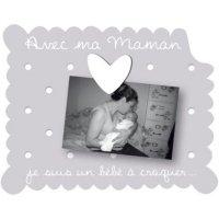 Cadre photo bébé à poser avec ma maman gris